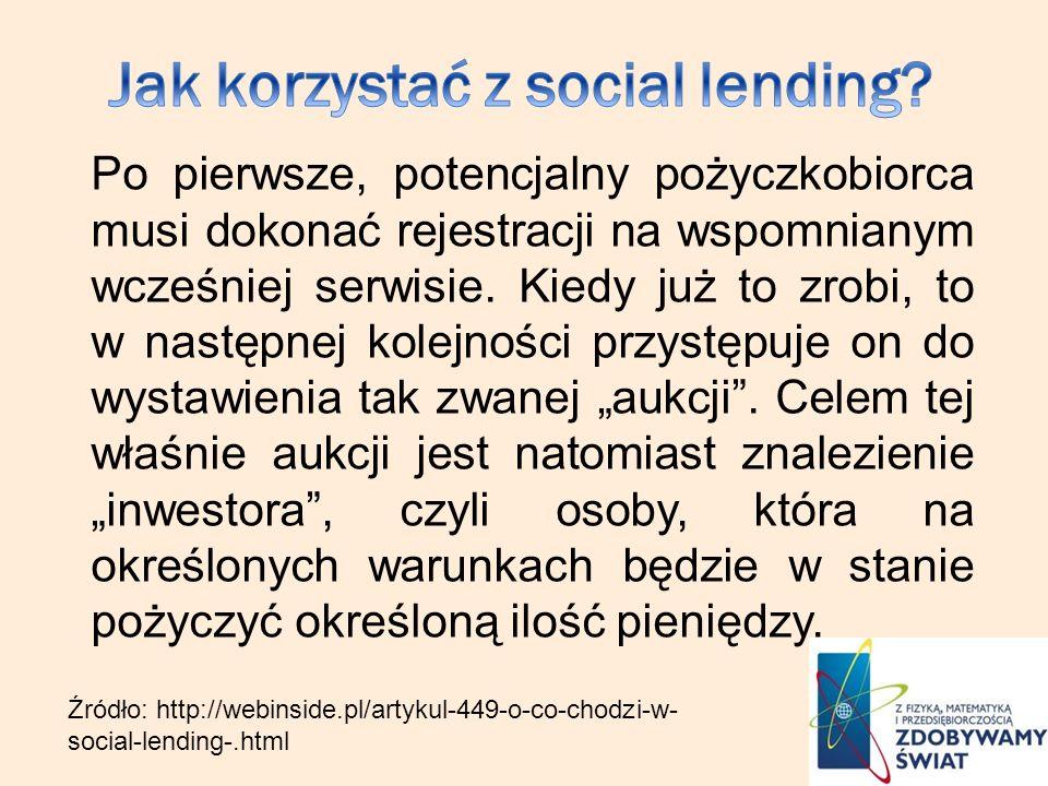 Po pierwsze, potencjalny pożyczkobiorca musi dokonać rejestracji na wspomnianym wcześniej serwisie. Kiedy już to zrobi, to w następnej kolejności przy