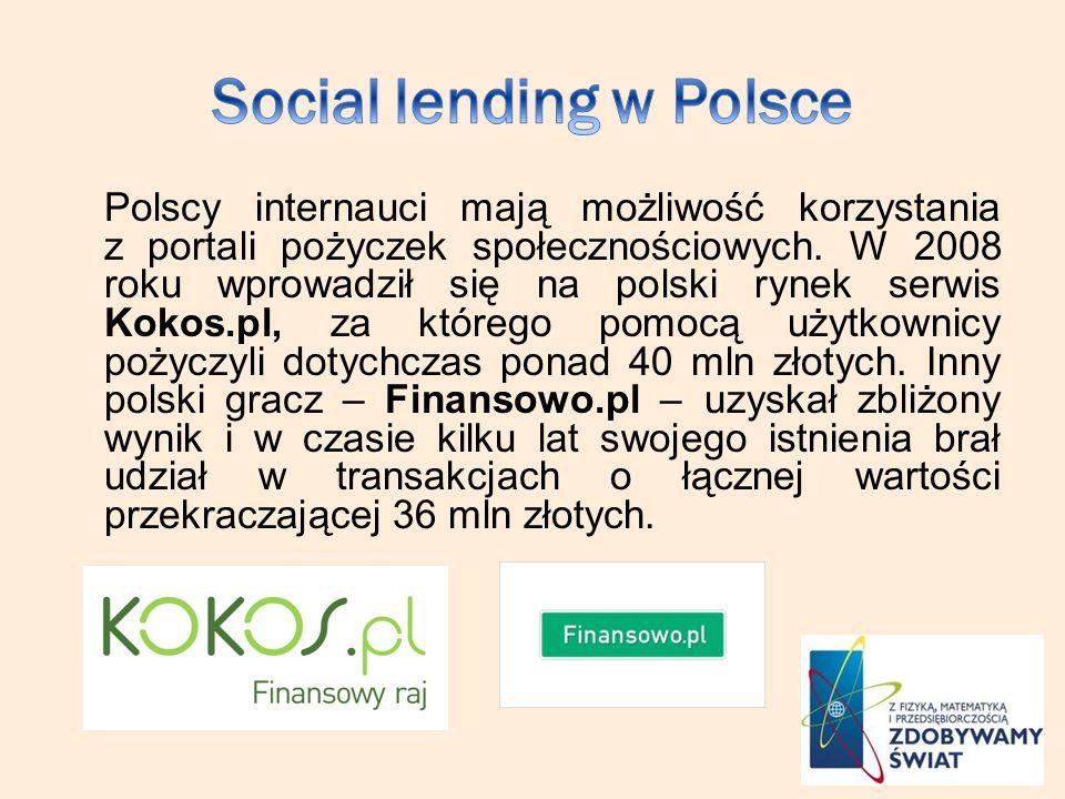 Polscy internauci mają możliwość korzystania z portali pożyczek społecznościowych. W 2008 roku wprowadził się na polski rynek serwis Kokos.pl, za któr