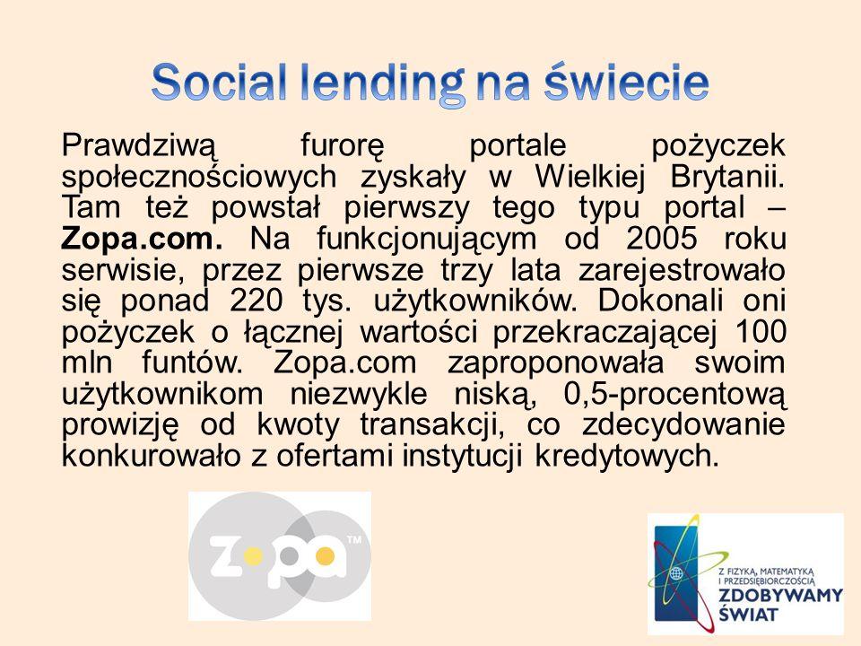 Prawdziwą furorę portale pożyczek społecznościowych zyskały w Wielkiej Brytanii. Tam też powstał pierwszy tego typu portal – Zopa.com. Na funkcjonując