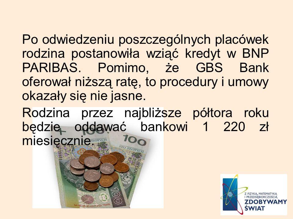 Po odwiedzeniu poszczególnych placówek rodzina postanowiła wziąć kredyt w BNP PARIBAS. Pomimo, że GBS Bank oferował niższą ratę, to procedury i umowy