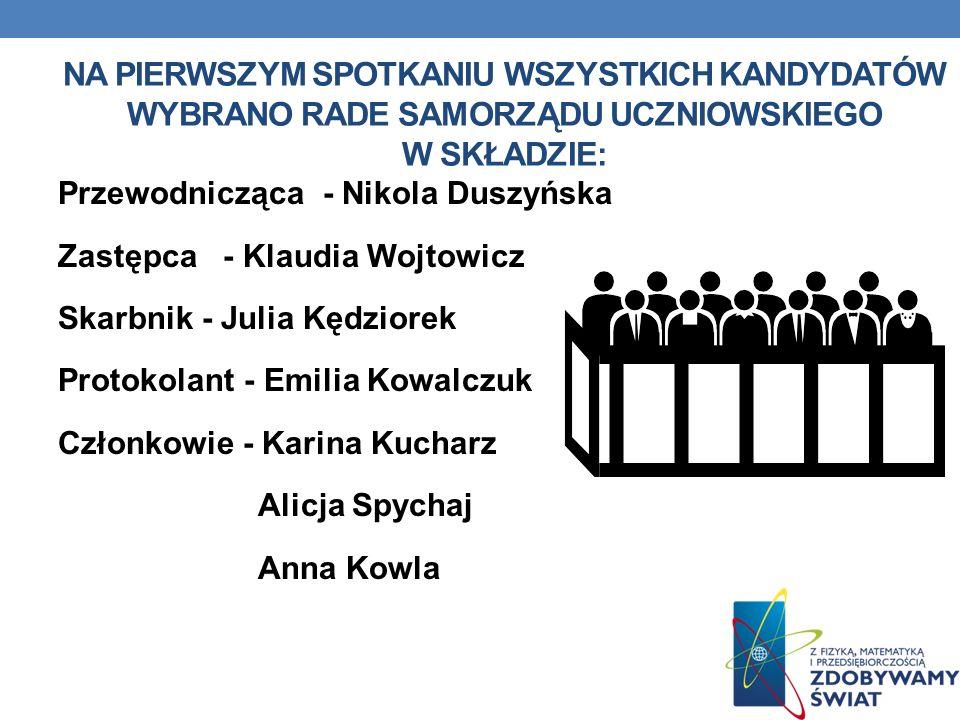 NA PIERWSZYM SPOTKANIU WSZYSTKICH KANDYDATÓW WYBRANO RADE SAMORZĄDU UCZNIOWSKIEGO W SKŁADZIE: Przewodnicząca - Nikola Duszyńska Zastępca - Klaudia Woj