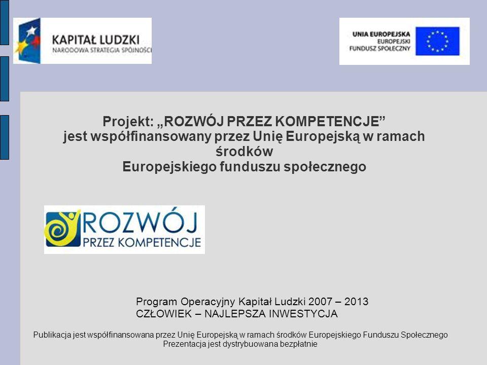 Projekt: ROZWÓJ PRZEZ KOMPETENCJE jest współfinansowany przez Unię Europejską w ramach środków Europejskiego funduszu społecznego Program Operacyjny Kapitał Ludzki 2007 – 2013 CZŁOWIEK – NAJLEPSZA INWESTYCJA Publikacja jest współfinansowana przez Unię Europejską w ramach środków Europejskiego Funduszu Społecznego Prezentacja jest dystrybuowana bezpłatnie