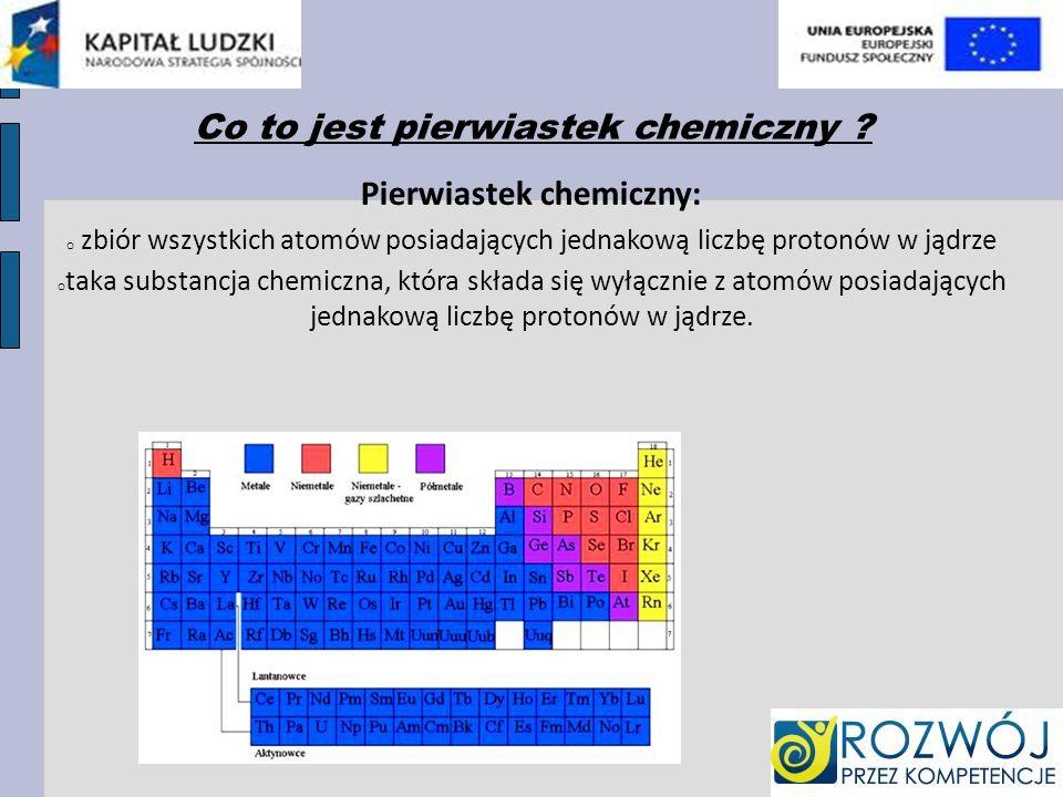 Co to jest pierwiastek chemiczny ? Pierwiastek chemiczny: o zbiór wszystkich atomów posiadających jednakową liczbę protonów w jądrze o taka substancja