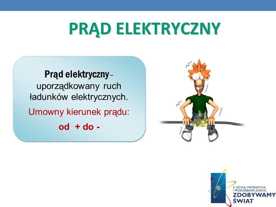 PRĄD ELEKTRYCZNY Prąd elektryczny – uporządkowany ruch ładunków elektrycznych.