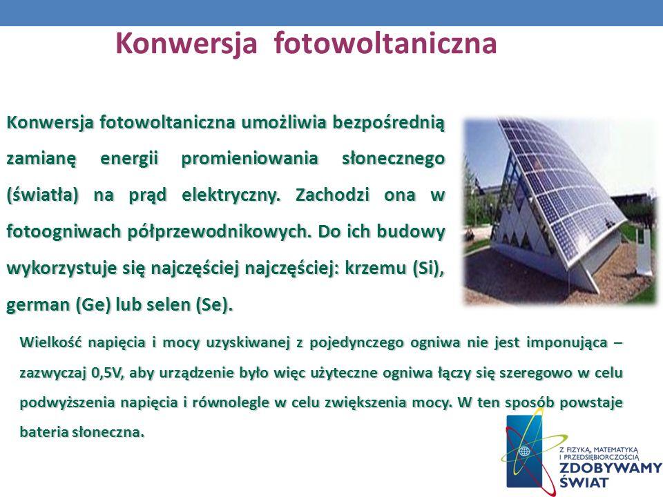 Konwersja fotowoltaniczna Konwersja fotowoltaniczna umożliwia bezpośrednią zamianę energii promieniowania słonecznego (światła) na prąd elektryczny.
