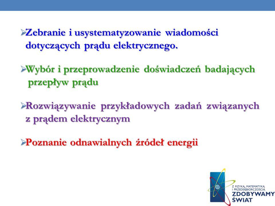 Zebranie i usystematyzowanie wiadomości dotyczących prądu elektrycznego.