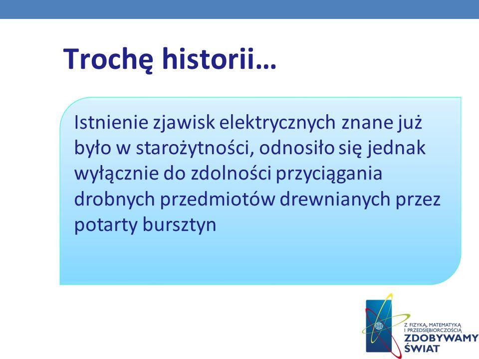 . Trochę historii… Istnienie zjawisk elektrycznych znane już było w starożytności, odnosiło się jednak wyłącznie do zdolności przyciągania drobnych przedmiotów drewnianych przez potarty bursztyn
