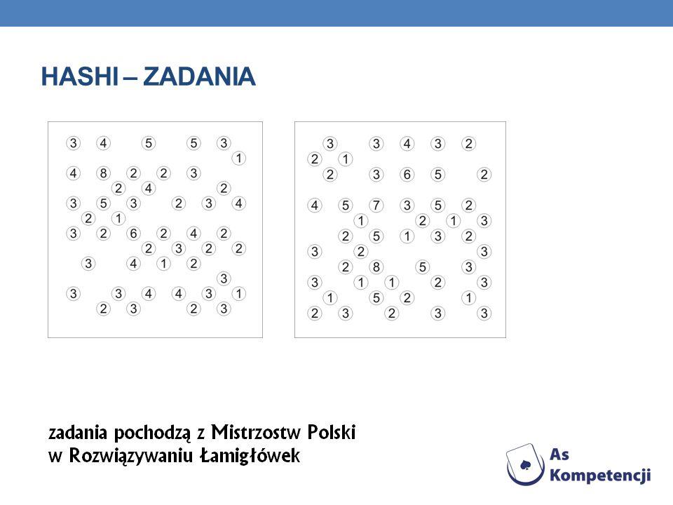 SUDOKU - ZASADY Wypełnij diagram cyframi od 1 do 9 wpisując do każdej pustej kratki jedną cyfrę, w ten sposób, aby w każdym rzędzie, w każdej kolumnie oraz w każdym z obwiedzionych grubszą linią kwadracików 3x3 znalazło się 9 różnych cyfr.