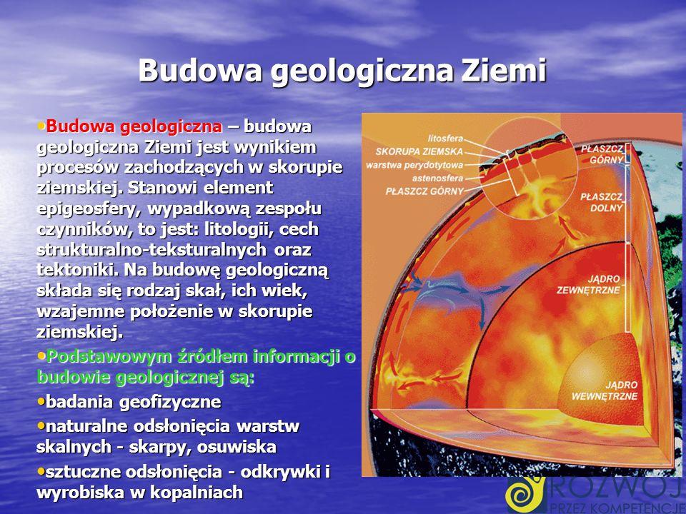 Budowa geologiczna Ziemi Budowa geologiczna – budowa geologiczna Ziemi jest wynikiem procesów zachodzących w skorupie ziemskiej.
