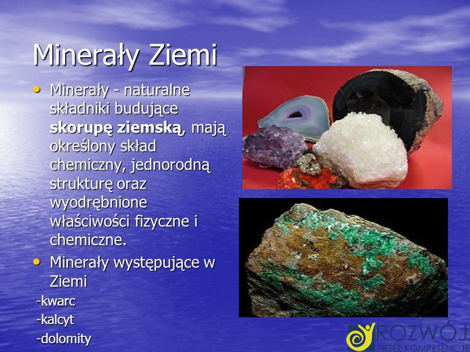 Minerały Ziemi Minerały - naturalne składniki budujące skorupę ziemską, mają określony skład chemiczny, jednorodną strukturę oraz wyodrębnione właściwości fizyczne i chemiczne.