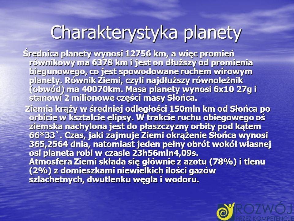 Charakterystyka planety Średnica planety wynosi 12756 km, a więc promień równikowy ma 6378 km i jest on dłuższy od promienia biegunowego, co jest spowodowane ruchem wirowym planety.