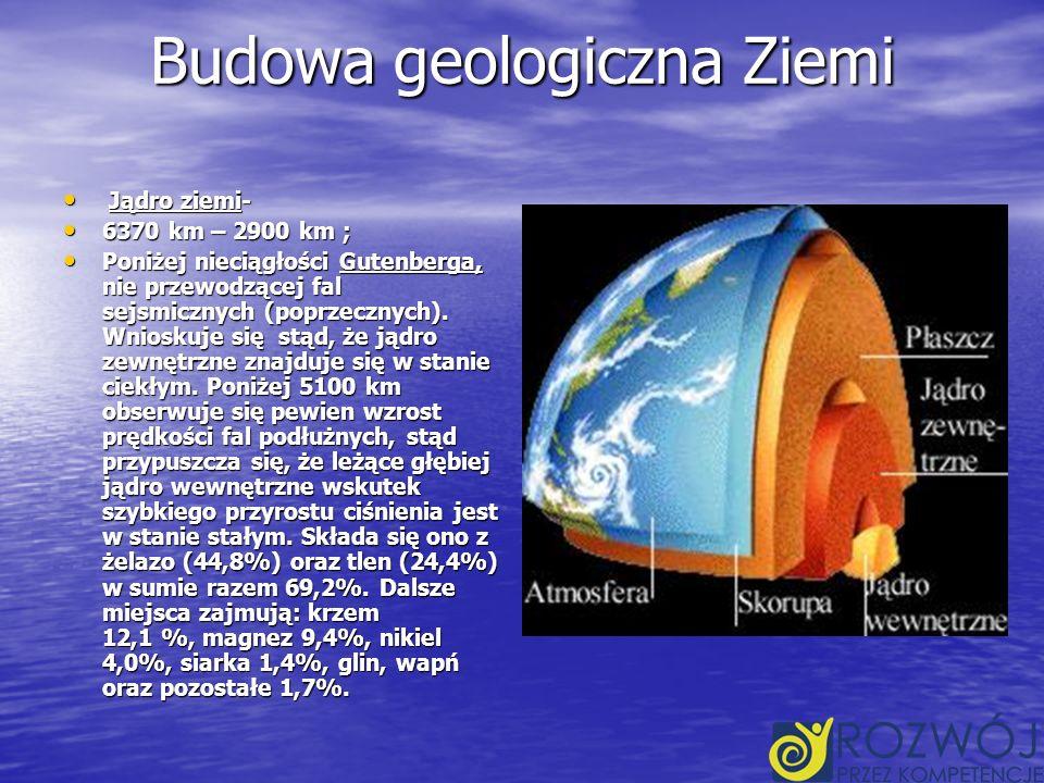 Budowa geologiczna Ziemi Jądro ziemi- Jądro ziemi- 6370 km – 2900 km ; 6370 km – 2900 km ; Poniżej nieciągłości Gutenberga, nie przewodzącej fal sejsmicznych (poprzecznych).
