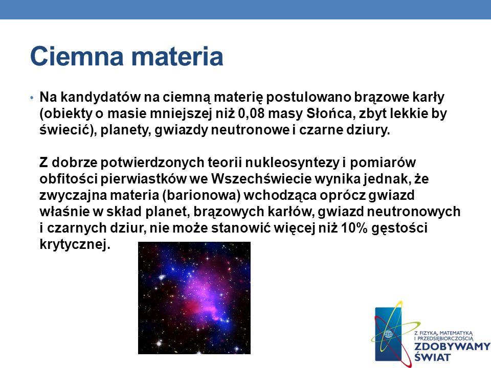 Ciemna materia Na kandydatów na ciemną materię postulowano brązowe karły (obiekty o masie mniejszej niż 0,08 masy Słońca, zbyt lekkie by świecić), pla