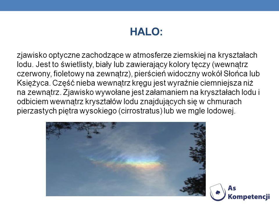 HALO: zjawisko optyczne zachodzące w atmosferze ziemskiej na kryształach lodu. Jest to świetlisty, biały lub zawierający kolory tęczy (wewnątrz czerwo