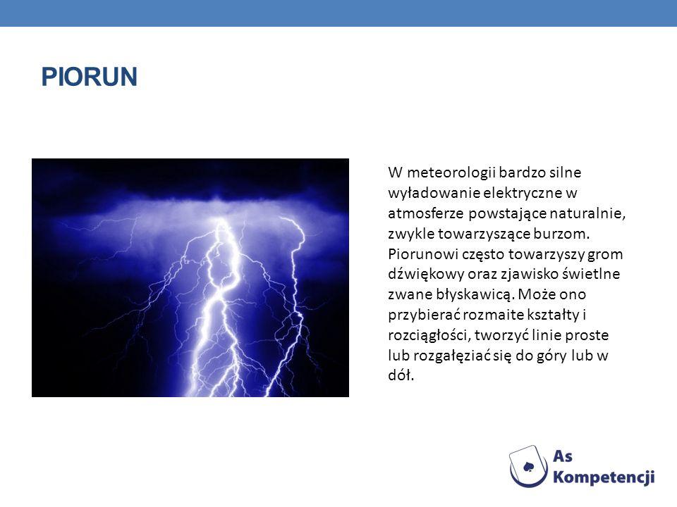 PIORUN W meteorologii bardzo silne wyładowanie elektryczne w atmosferze powstające naturalnie, zwykle towarzyszące burzom. Piorunowi często towarzyszy