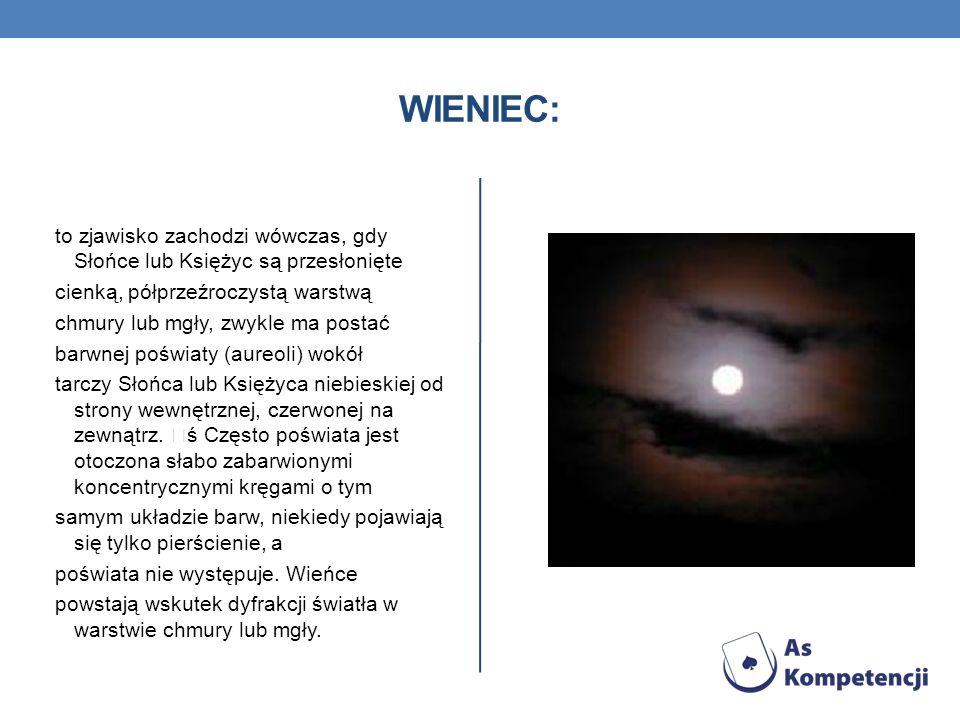 WIENIEC: to zjawisko zachodzi wówczas, gdy Słońce lub Księżyc są przesłonięte cienką, półprzeźroczystą warstwą chmury lub mgły, zwykle ma postać barwn