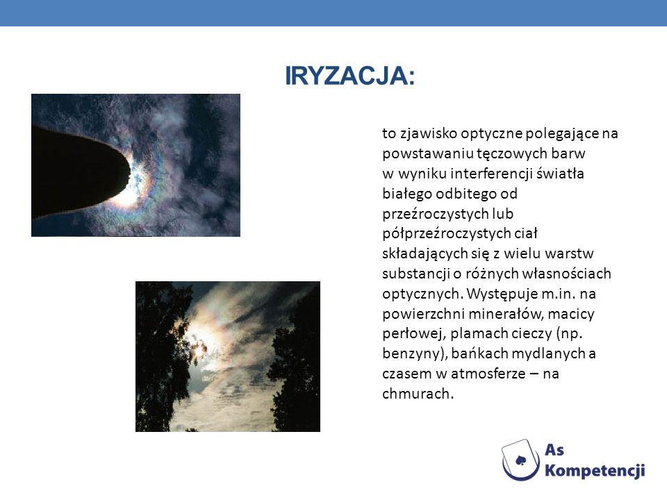 IRYZACJA: to zjawisko optyczne polegające na powstawaniu tęczowych barw w wyniku interferencji światła białego odbitego od przeźroczystych lub półprze