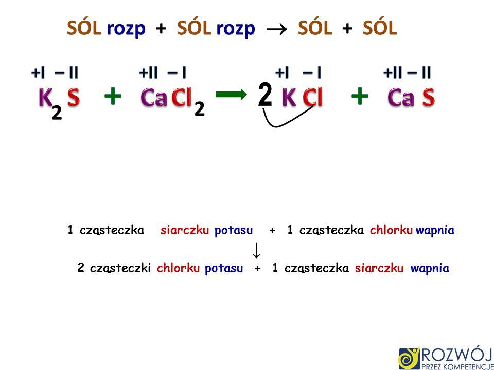 SÓL rozp + SÓL rozp SÓL + 3 cząsteczki siarczku sodu + 2 cząsteczki chlorku glinu 6 cząsteczek chlorku sodu + 1 cząsteczka siarczku glinu