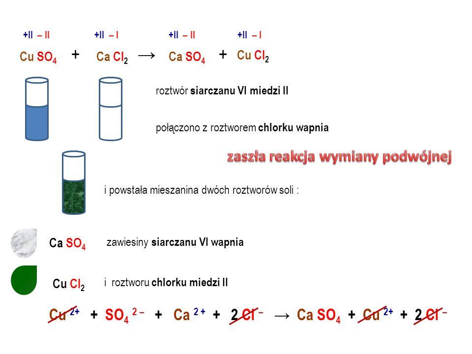 SÓL rozp + SÓL rozp SÓL + 1 cząsteczka siarczku potasu + 1 cząsteczka chlorku wapnia 2 cząsteczki chlorku potasu + 1 cząsteczka siarczku wapnia