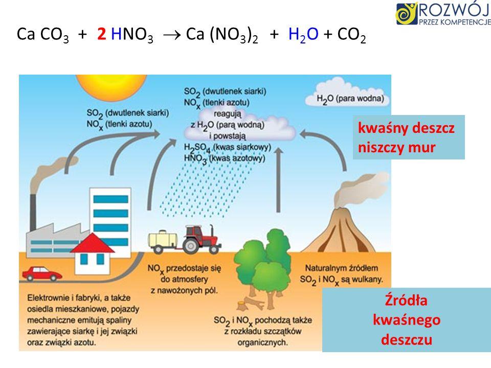 CaCO 3 + HNO 3 Ca NO 3 + II –I ( ) 2 2 + H 2 O + CO 2