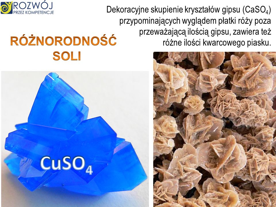 Dekoracyjne skupienie kryształów gipsu (CaSO 4 ) przypominających wyglądem płatki róży poza przeważającą ilością gipsu, zawiera też różne ilości kwarcowego piasku.