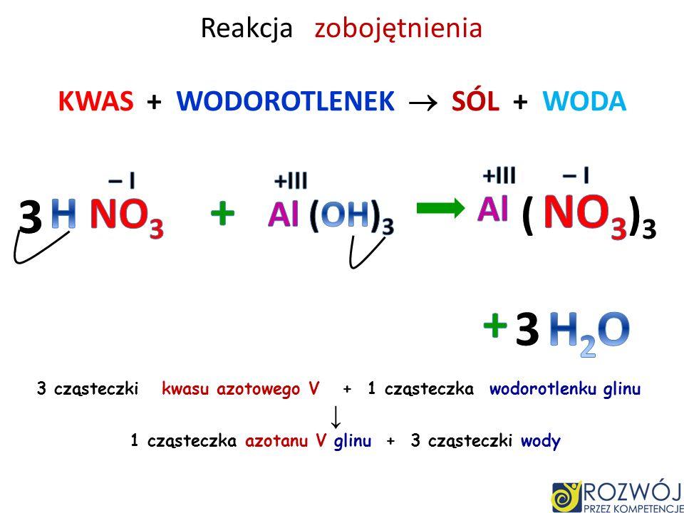 Reakcja zobojętnienia KWAS + WODOROTLENEK SÓL + WODA 2 cząsteczki kwasu fosforowego V + 3 cząsteczki wodorotlenku magnezu 1 cząsteczka fosforanu V mag
