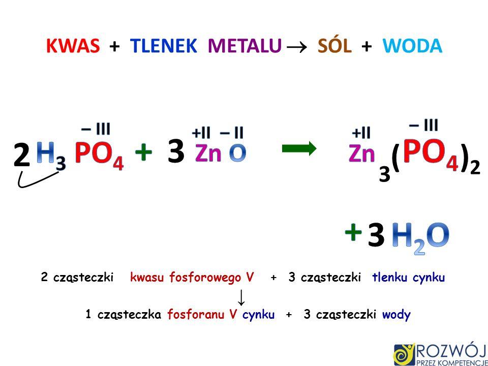 tlenek żelaza III przereagował z kwasem Fe 2 O 3 + H 3 PO 4 Fe PO 4 + H 2 O + III –III 223 kwas fosforowy V jest składnikiem odrdzewiacza i coca coli