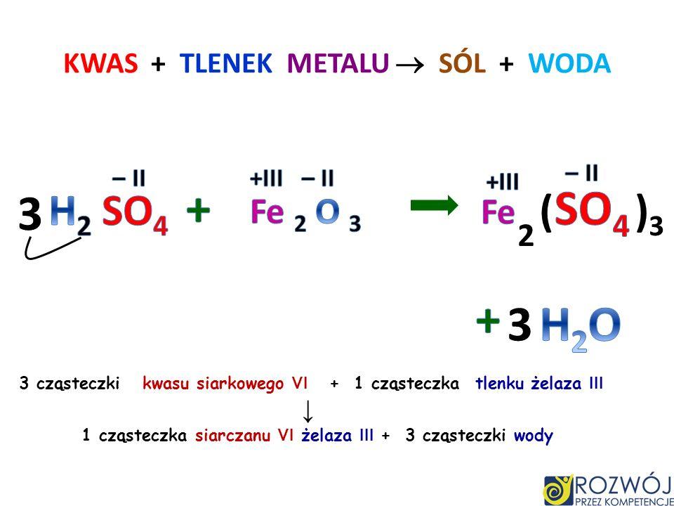 KWAS + TLENEK METALU SÓL + WODA 2 cząsteczki kwasu fosforowego V + 3 cząsteczki tlenku cynku 1 cząsteczka fosforanu V cynku + 3 cząsteczki wody