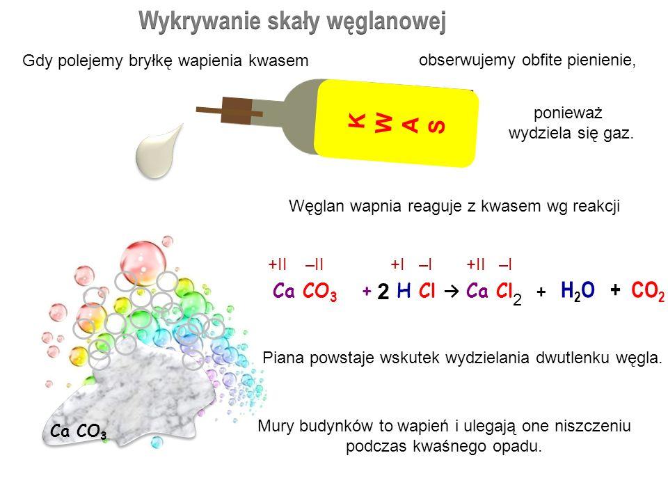 KWAS + METAL SÓL + WODÓR 2 cząsteczki kwasu azotowego V + 1 atom wapnia 1 cząsteczka azotanu V wapnia + 1 cząsteczka wodoru