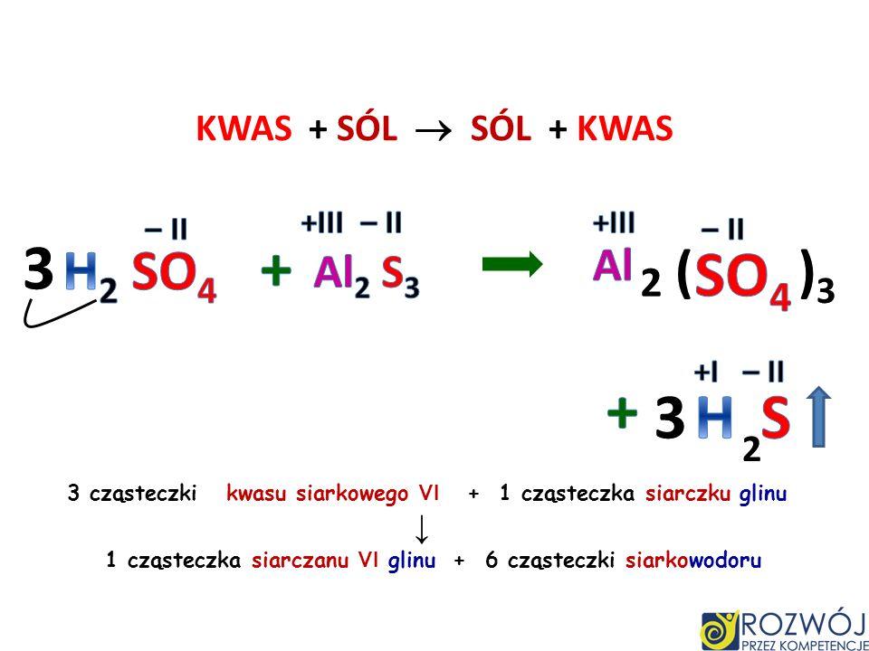 KWAS + SÓL SÓL + KWAS H 2 O + CO 2 2 cząsteczki kwasu azotowego V + 1 cząsteczka węglanu wapnia 1 cząsteczka azotanu V wapnia + 1 cząsteczka wody + 1