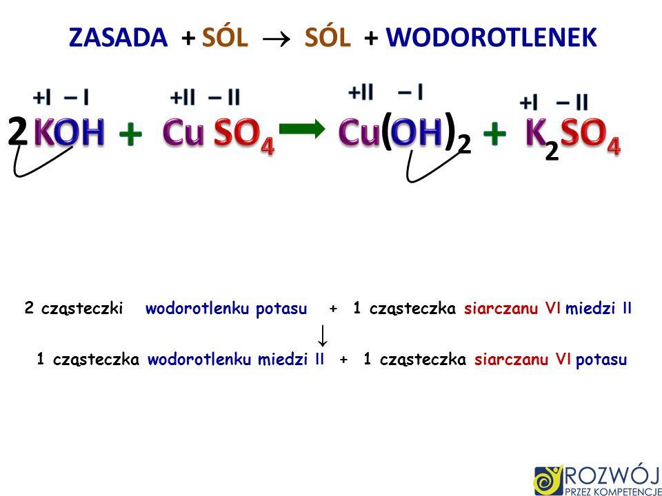 Cu (OH) 2 Cu SO 4 Na OH Na 2 SO 4 + +II – II +I – I +I – II +II – I Na 2 SO 4 Cu (OH) 2 + roztwór siarczanu VI miedzi II połączono z roztworem wodorot