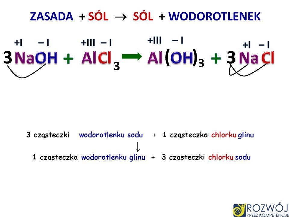 ZASADA + SÓL SÓL + WODOROTLENEK 2 cząsteczki wodorotlenku potasu + 1 cząsteczka siarczanu VI miedzi II 1 cząsteczka wodorotlenku miedzi II + 1 cząstec