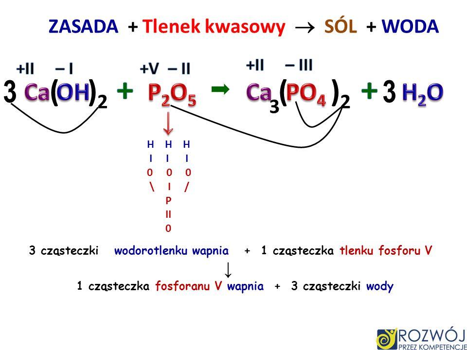 ZASADA + Tlenek kwasowy SÓL + WODA H I I 0 \ / C II 0 1 cząsteczka wodorotlenku wapnia + 1 cząsteczka tlenku węgla IV 1 cząsteczka węglanu wapnia + 1