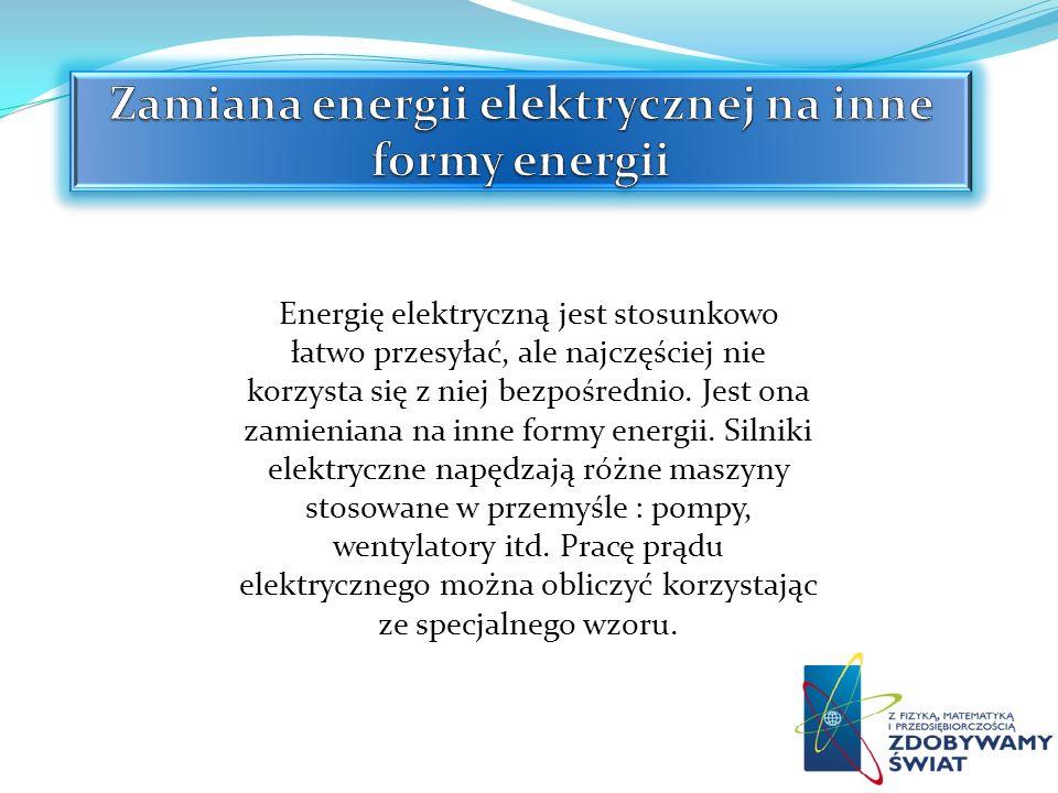 Energię elektryczną jest stosunkowo łatwo przesyłać, ale najczęściej nie korzysta się z niej bezpośrednio. Jest ona zamieniana na inne formy energii.