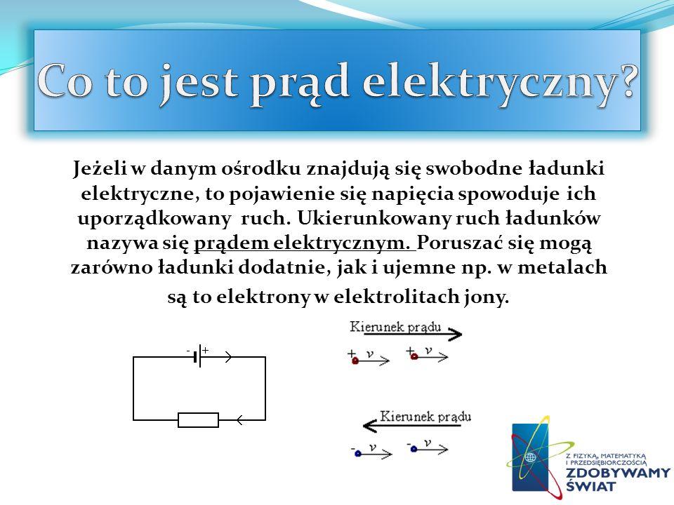Jeżeli w danym ośrodku znajdują się swobodne ładunki elektryczne, to pojawienie się napięcia spowoduje ich uporządkowany ruch. Ukierunkowany ruch ładu