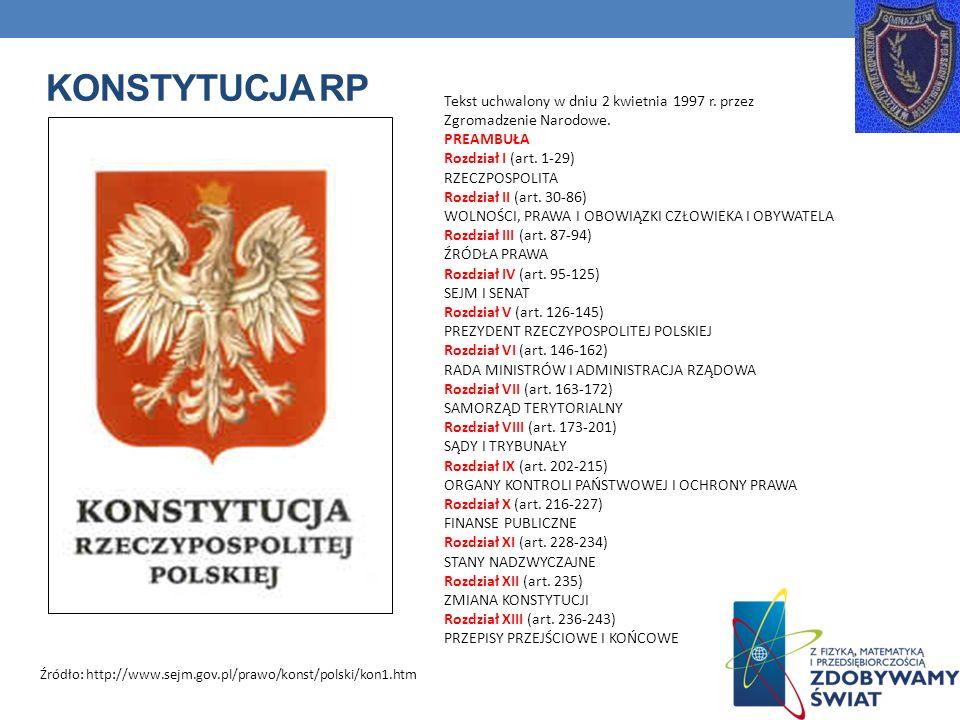 KONSTYTUCJA RP Tekst uchwalony w dniu 2 kwietnia 1997 r. przez Zgromadzenie Narodowe. PREAMBUŁA Rozdział I (art. 1-29) RZECZPOSPOLITA Rozdział II (art