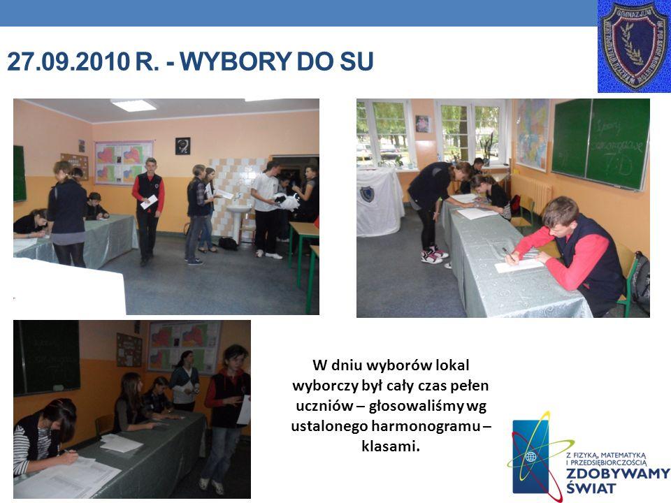 27.09.2010 R. - WYBORY DO SU W dniu wyborów lokal wyborczy był cały czas pełen uczniów – głosowaliśmy wg ustalonego harmonogramu – klasami.