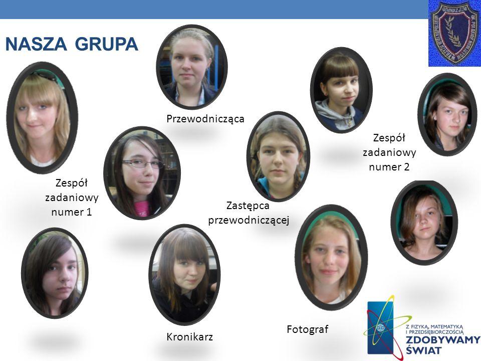 NASZA GRUPA Przewodnicząca Zastępca przewodniczącej Fotograf Kronikarz Zespół zadaniowy numer 2 Zespół zadaniowy numer 1