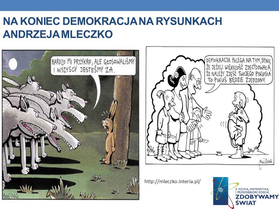NA KONIEC DEMOKRACJA NA RYSUNKACH ANDRZEJA MLECZKO http://mleczko.interia.pl/