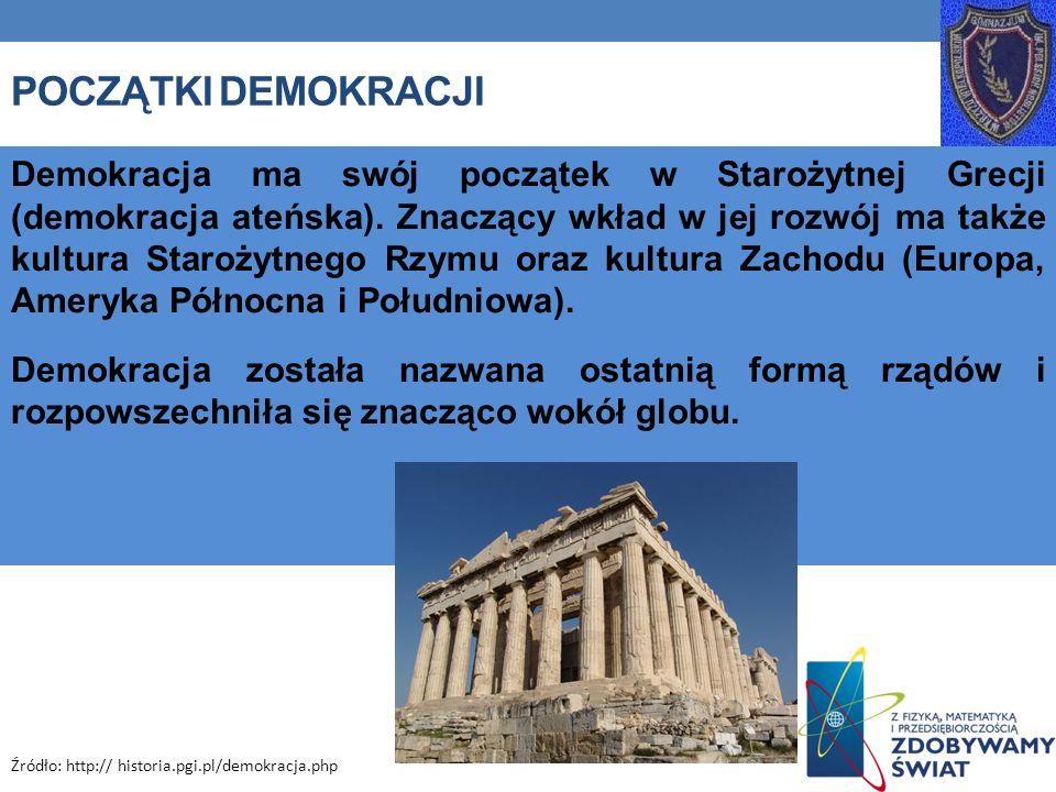POCZĄTKI DEMOKRACJI Demokracja ma swój początek w Starożytnej Grecji (demokracja ateńska). Znaczący wkład w jej rozwój ma także kultura Starożytnego R