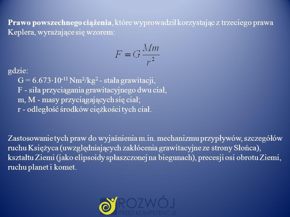 Prawo powszechnego ciążenia, które wyprowadził korzystając z trzeciego prawa Keplera, wyrażające się wzorem: gdzie: G = 6.673·10 -11 Nm 2 /kg 2 - stał