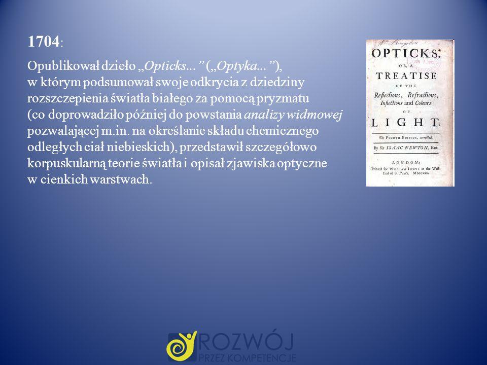 1704 : Opublikował dzieło Opticks... (Optyka...), w którym podsumował swoje odkrycia z dziedziny rozszczepienia światła białego za pomocą pryzmatu (co