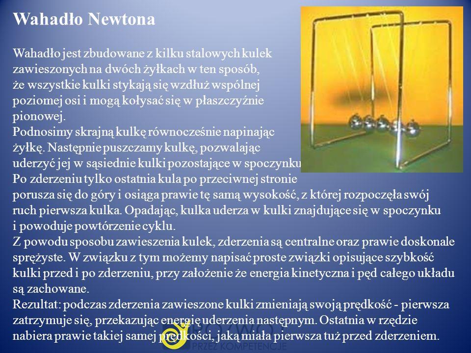 Wahadło Newtona Wahadło jest zbudowane z kilku stalowych kulek zawieszonych na dwóch żyłkach w ten sposób, że wszystkie kulki stykają się wzdłuż wspól