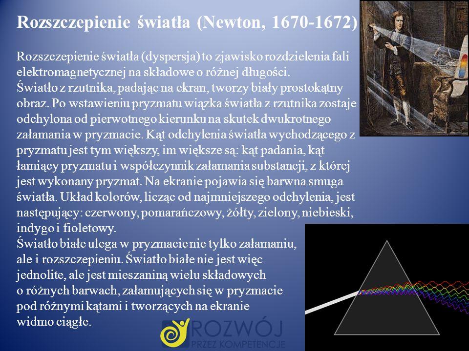 Rozszczepienie światła (Newton, 1670-1672) Rozszczepienie światła (dyspersja) to zjawisko rozdzielenia fali elektromagnetycznej na składowe o różnej d