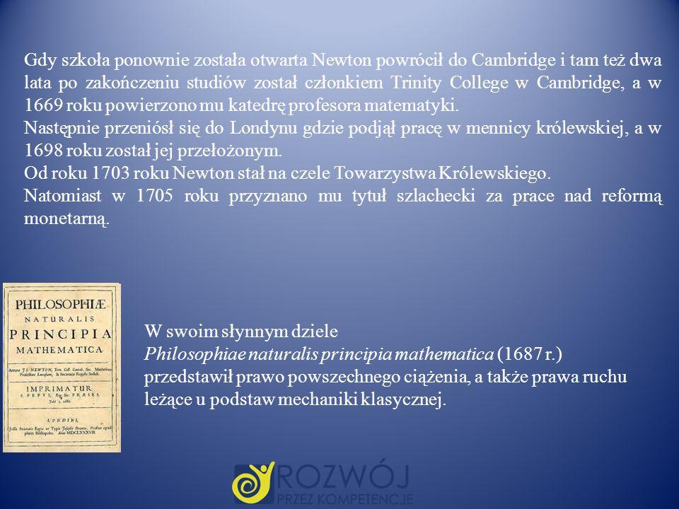 Gdy szkoła ponownie została otwarta Newton powrócił do Cambridge i tam też dwa lata po zakończeniu studiów został członkiem Trinity College w Cambridg