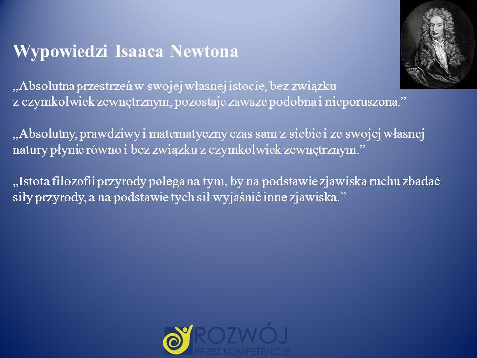 Wypowiedzi Isaaca Newtona Absolutna przestrzeń w swojej własnej istocie, bez związku z czymkolwiek zewnętrznym, pozostaje zawsze podobna i nieporuszon