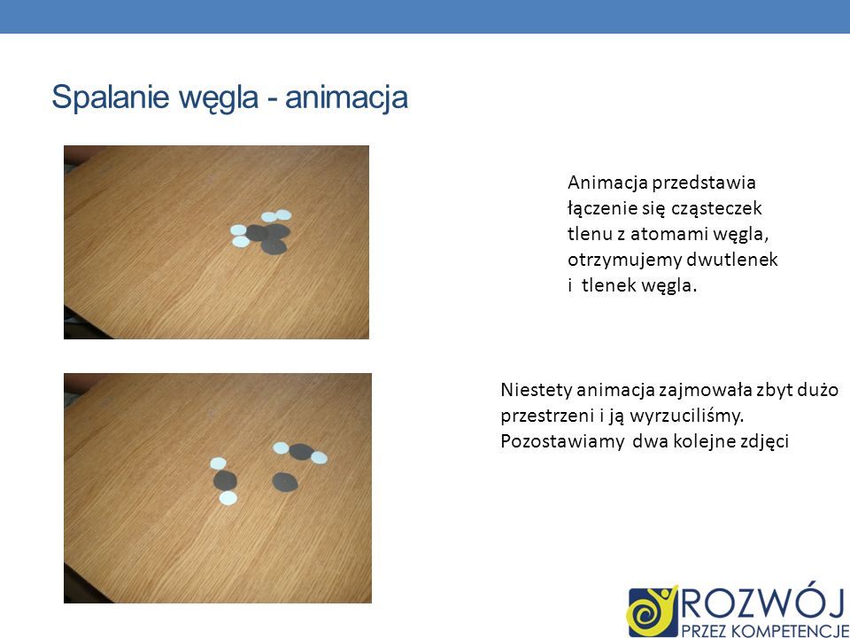 Spalanie węgla - animacja Animacja przedstawia łączenie się cząsteczek tlenu z atomami węgla, otrzymujemy dwutlenek i tlenek węgla. Niestety animacja