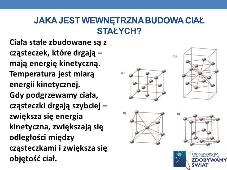 JAKA JEST WEWNĘTRZNA BUDOWA CIAŁ STAŁYCH? Ciała stałe zbudowane są z cząsteczek, które drgają – mają energię kinetyczną. Temperatura jest miarą energi