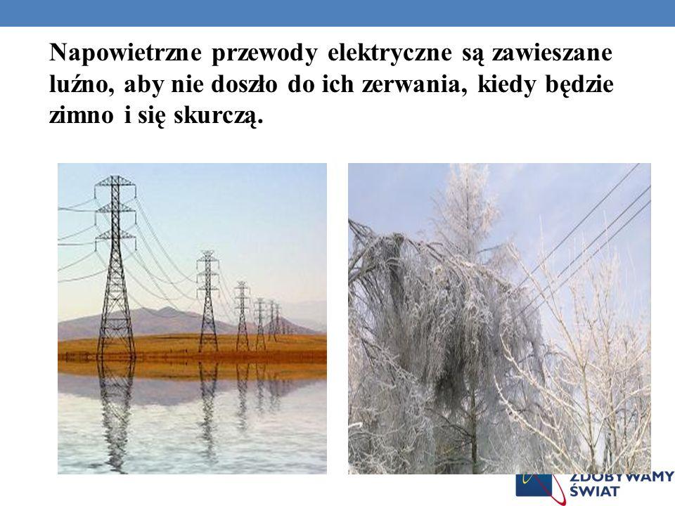 Napowietrzne przewody elektryczne są zawieszane luźno, aby nie doszło do ich zerwania, kiedy będzie zimno i się skurczą.