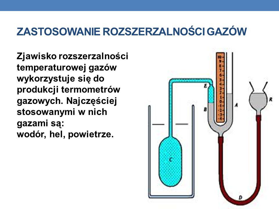 ZASTOSOWANIE ROZSZERZALNOŚCI GAZÓW Zjawisko rozszerzalności temperaturowej gazów wykorzystuje się do produkcji termometrów gazowych. Najczęściej stoso